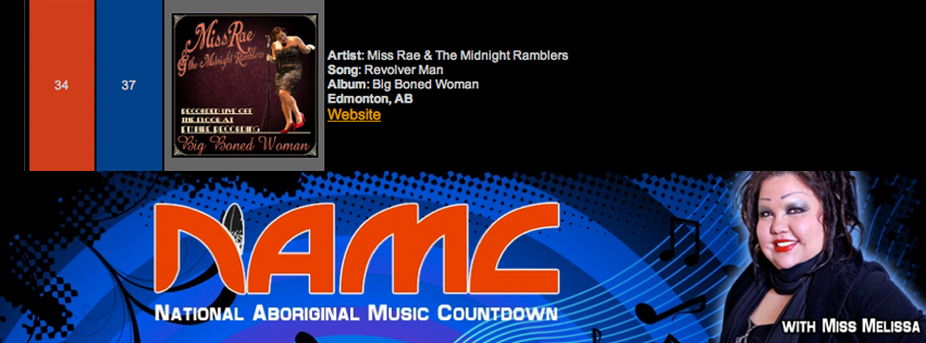 National Aboriginal Music Countdown_Miss Rae & the Midnight Ramblers_Big Boned Woman_Revolver Man blues song_Top 40 at 34_JUNE 3-10 2014